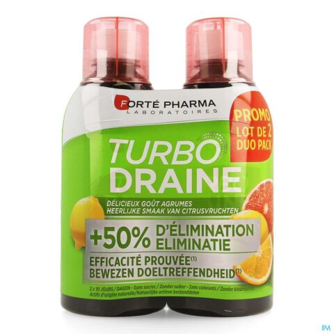 Forté Pharma Turbodraine Citrusvruchten Duopack 2x500ml