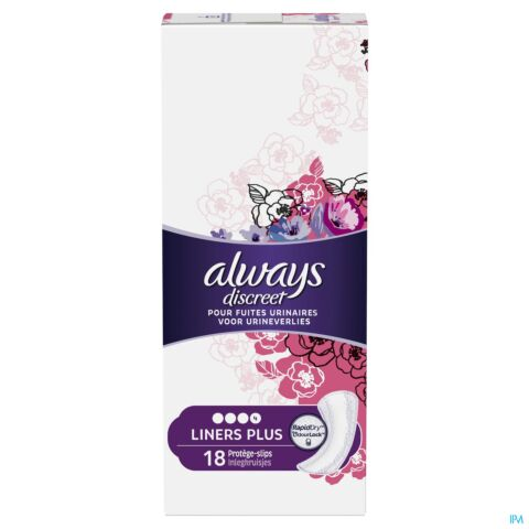 ALWAYS DISCREET INCONTINENCE LINERS PLUS SPX18