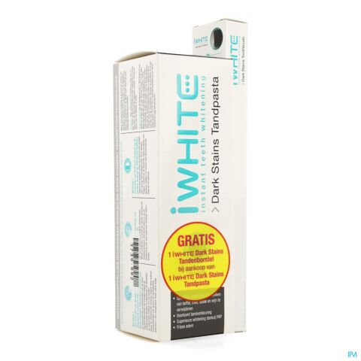 Iwhite Dark Stains Tandpasta 75ml + Gratis Dark Stains Tandenborstel 1 Stuk